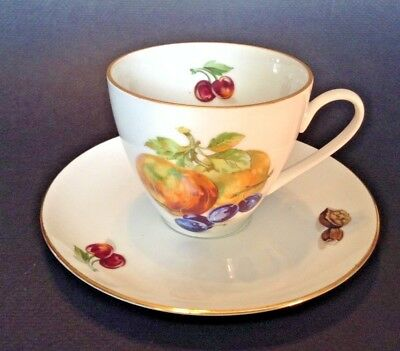 Bohemia Tea Cup And Saucer - White With Fruit - Apples Olives - -