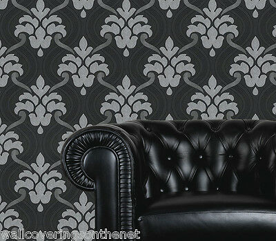 Blown Vinyl Wallpaper STUNNING Plum /& Grey With Silver Glitter Damask Design