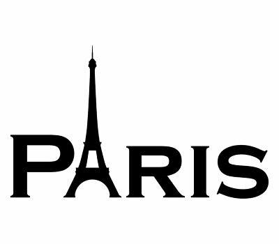 PARIS SCHRIFTZUG AUFKLEBER Eiffelturm Deko Sticker Wandtattoo Möbel Fenster Glas
