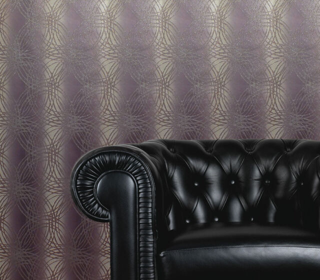 Purple / Plum & Grey Glitter Wallpaper
