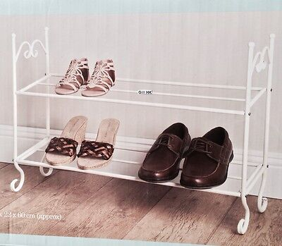 Shabby Chic Vintage Style Cream 2 Tier Metal Shoe Rack Storage -665