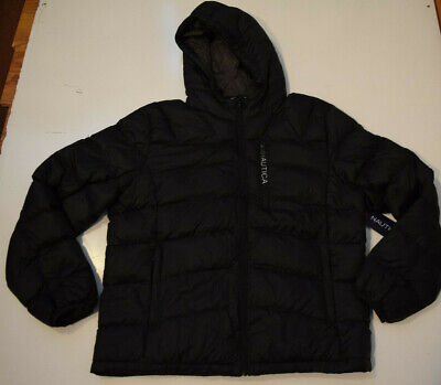 NAUTICA Mens Puffer Coat Black Ultra Light Down Jacket Quilted Size X-Large NWT