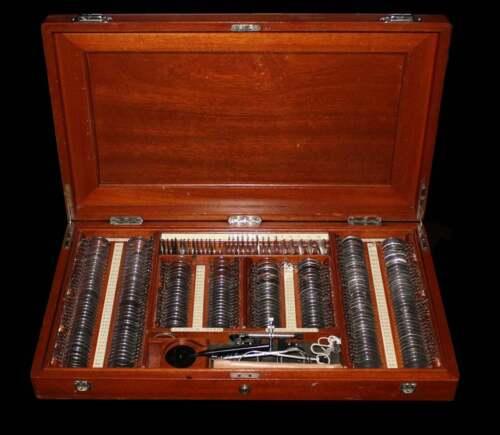 Vintage Optical Trial Lens Set - Metal Rim Lenses - Beautiful Wooden Case - Lots