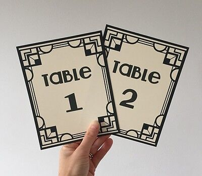 Gatsby Center Pieces (Art Deco Gatsby Wedding Table Numbers Name Cards Party)