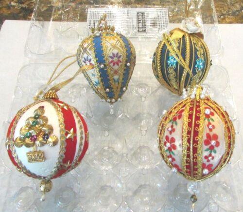 Lot of 4 Vintage Push Pin  Sequin Pearl Ribbonl Christmas Ornaments