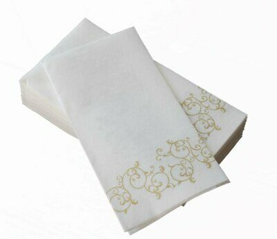Decorative Disposable Hand Towels (Box of 100 Decorative Feel Bathroom Hand Towels GOLD Floral Disposable Paper)