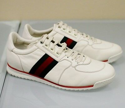 New Authentic Gucci Mens Leather Running Shoes Sneakers 13G Cream White 243825
