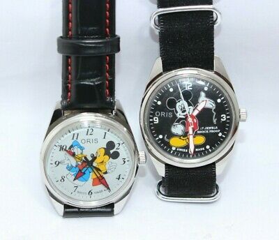Vintage Oris Lot Of 2 Watches Mickey Mouse&Donald Duck Dial Hand Wind Unisex