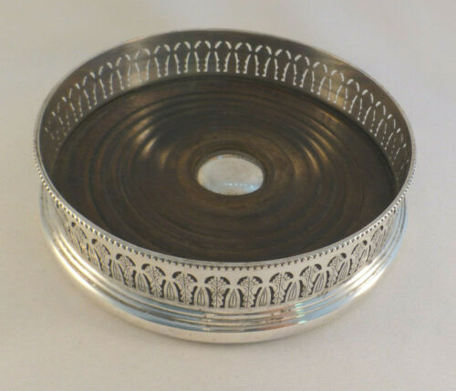 Unusual Fancy Barker Ellis Silver Plate & Wood Pierced Wine Coaster