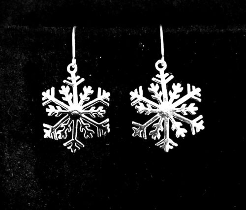 .925 Sterling Silver LARGE Snowflake Earrings Holiday Special Christmas Jewelry
