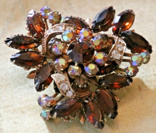 Vintage Brown Marquis & AB Rhinestone Brooch Mid Century Riveted Construction