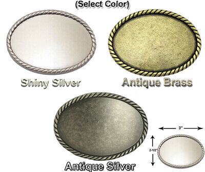 WESTERN BUCKLE BLANK WITH ROPE EDGE OVAL FOR LEATHER CRAFT 3 COLORS FITS 1-1/2 (Colored Buckle)