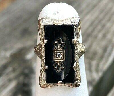 VINTAGE 14K GOLD ONYX & DIAMOND LADIES FILIGREE RING SIZE 4.5 14k Gold Ladies Onyx