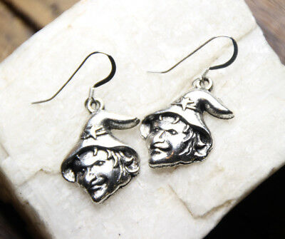 Witch Earrings 925 sterling silver hooks pewter charms Halloween Costume Charm