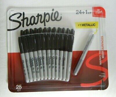 New - Fine Tip Permanent Black Markers 24 Black 1 Metallic Silver Bysharpie