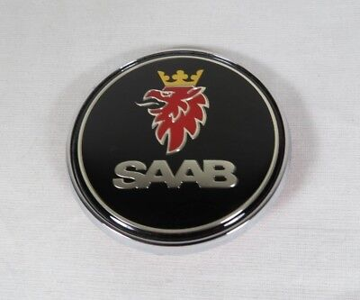 SAAB 93 95 HOOD EMBLEM 9-3 9-5 BLACK/CHROME FRONT ROUND BADGE sign symbol logo for sale  Shipping to Canada