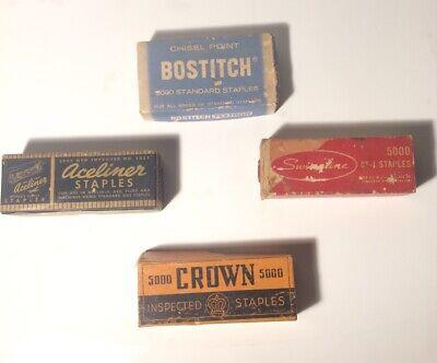Vintage Lot Of 4 Boxes Of Staples. Bostitch Swingline Crown Aceliner