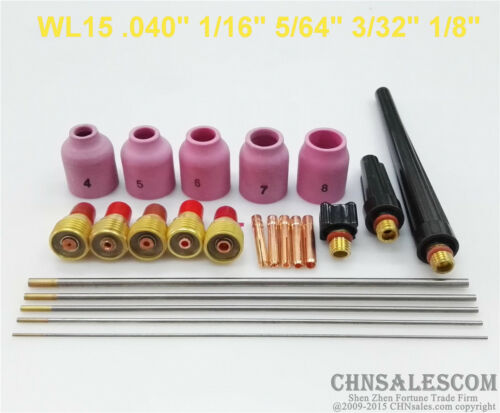 23 pcs TIG Welding Torch Gas Lens parts Kit for WP-9 WP-20 WP-25 WL15 Tungsten