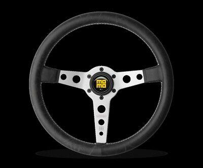 - MOMO Prototipo Heritage Steering Wheel Silver Distressed Black Leather PRH35BK0S