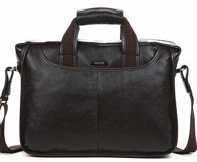 Men's Leather Briefcase Attache Business Cases Shoulder Messenger Laptop (Leather Attache)