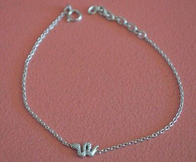 Small Snake Bracelet (925 Sterling Silver Plating Rhodium Small Animal Snake Bracelet w)