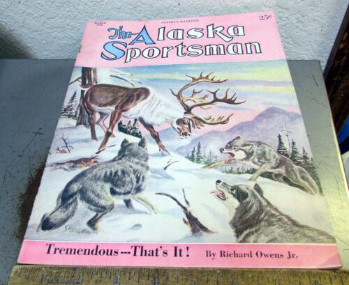 vintage March 1952 Alaska Sportsman magazine, great cover art, good shape