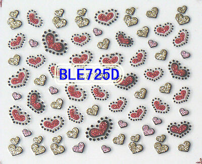 Glitter Red Pink Hearts Gold Dots 3D Nail Art Stickers Decals Tips Decoration
