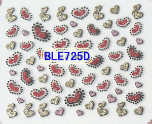 Butterfly Rose Flowers Glitter Nail Art 3D Stickers Wrap Manicure Pedicure