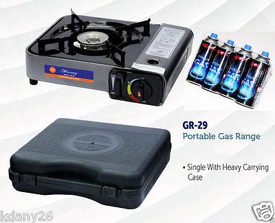 New Portable Single Burner Butane Gas Camping Stove w/ Hard Case Tabletop Stove