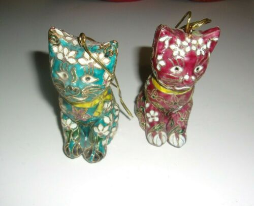 Rare Cloisonne Cat  Ornaments Figurines by THE BOMBAY COMPANY X 2