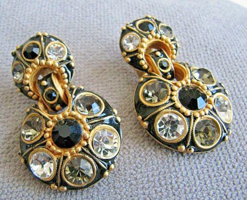 Vintage Blanca Large Chinky Rhinestone Clip On Earrings UNIQUE NICE
