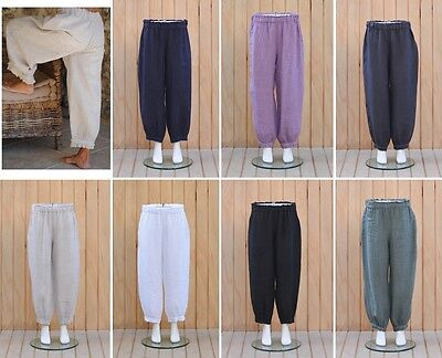 Lagenlook Plus Size Linen Trousers Gypsy Boho Style