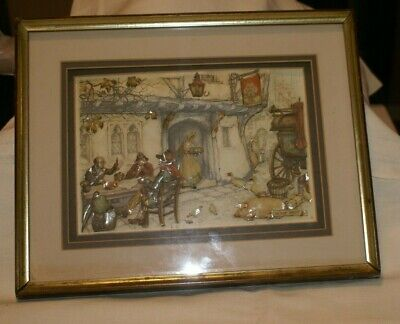 Vintage Anton Pieck 3D Shadow Box St. Scene Outside The Old Queens Head Tavern