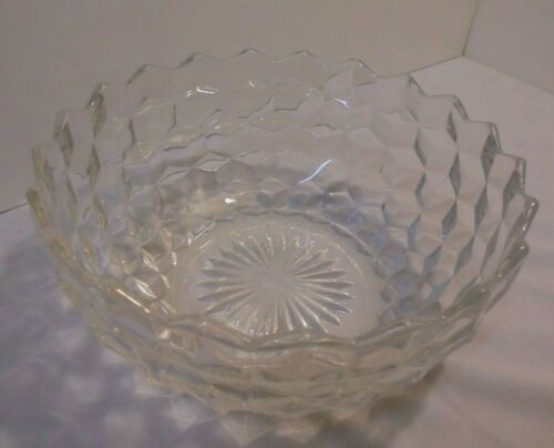 "Fostoria American Large Serving Bowl, Crystal, 8.25"" Across, 3.75"" Tall Vintage"