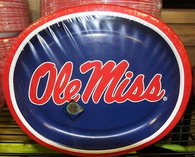 OLE MISS TAILGATE PLATE HEAVY DUTY-10X12 INCH 50 PREMIUM OVAL PLATES - Ole Miss Party Supplies