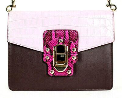 DOLCE & GABBANA $6,495 Colorblock Leather Python & Crocodile LUCIA (Dolce And Gabbana Purple Purse)