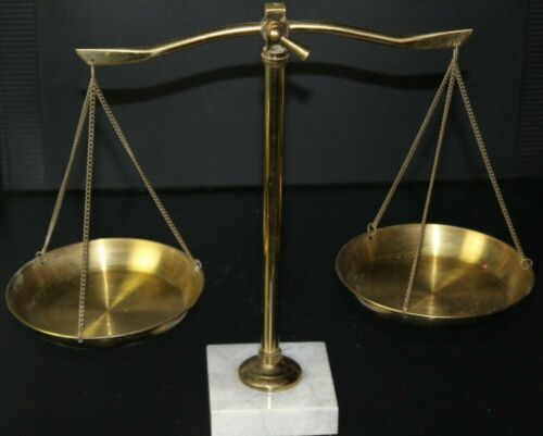 """Vintage Brass Scales of Justice Lawyer Made In Japan Marble Base 12"""" Inch"""