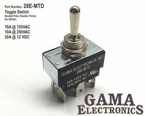 30 Amp Double Pole Double Throw 3 Position On-Off-On Toggle Switch - 28E-MTD