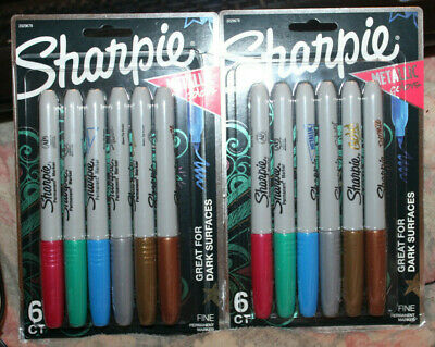 Lot Of 2 Packs Of 6 Sharpie Metallic Colors Fine Point Permanent Markers