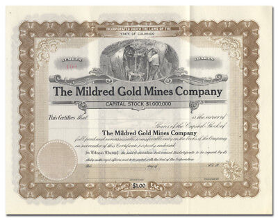 Mildred Gold Mines Company Stock Certificate (Colorado)