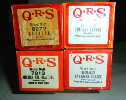 4 QRS PLAYER PIANO ROLLS- Grp 10, Cecilia, The Hot Canary, America The Beautiful