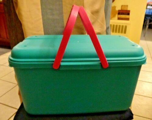 Vintage Eagle Craftstor Teal Craft Tote Storage Container Full Of Sewing Items!
