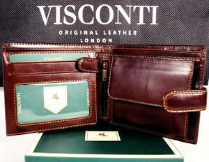 Mens-Wallet-Leather-Brown-New-in-Gift-Box-Quality-Visconti