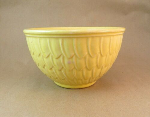"Vintage McCoy USA 6"" x 3.5"" Mixing Bowl Yellow Fish Scale Beautiful"