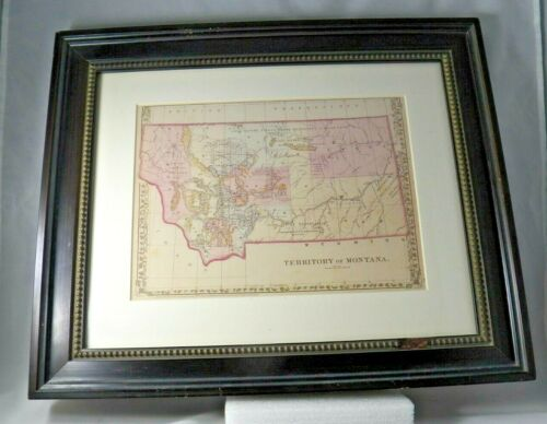Vintage Map of Montana Territory Great Plains c1879 Framed