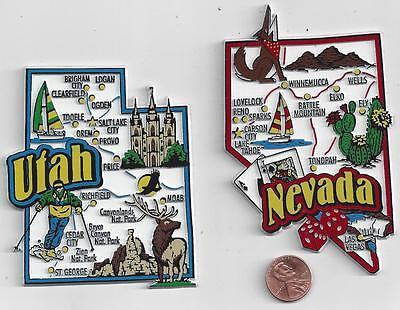 NEVADA and UTAH  JUMBO 7-COLOR  STATE  MAP  MAGNETS     NEW USA  2 MAGNETS