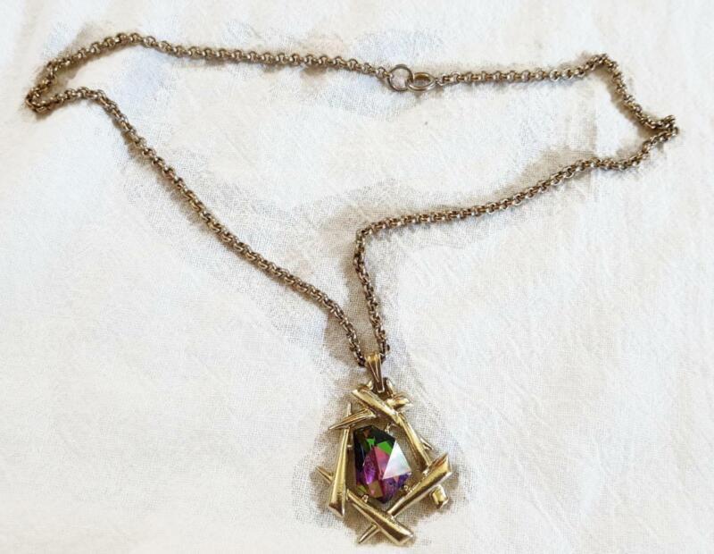 Vintage Necklace - Purple Iridescent 2 Inch Pendant w 18 Inch Goldtone Chain