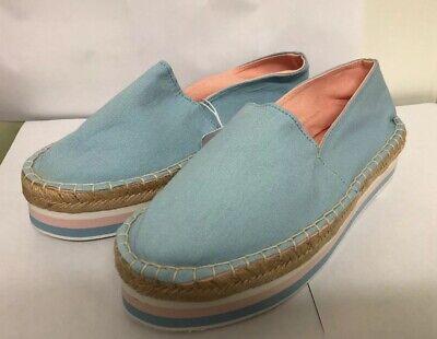 NWOB ZARA Light Blue Pink Slip On Wedges Casual Shoes Size USA 6.5 EUR 37