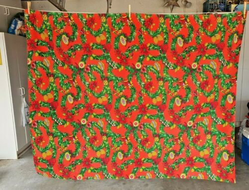 """VINTAGE CHRISTMAS TABLECLOTH RED W/ GREEN GARLAND BELLS & ORNAMENTS - 52"""" X 65"""""""