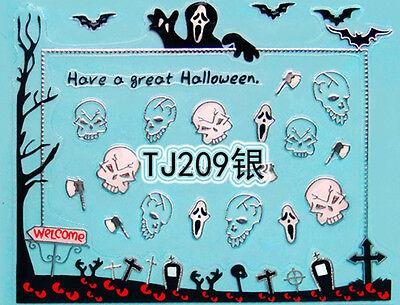 Halloween Silver Bats Eyes Scream Skull Grave Axe 3D Nail Art Sticker Decals